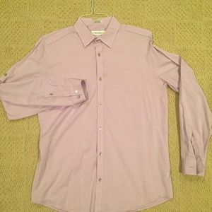 Calvin Klein Lilac Men's Button-Down Dress Shirt
